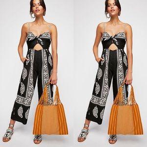 Free People Feel The Sun Boho Black Linen Jumpsuit